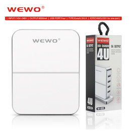 Wholesale Smart Charger For Android - WEWO 6A output Travel Charger Fast Charging 4 USB Smart Fast Phone Charger for iphone Samsung Android Retail Packagng USB Chargers