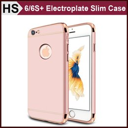 Wholesale Felt Frames - Electroplate Frame Ultra-thin Hard Case for iPhone 6 6S Plus Luxury 3 Joints Metal Feel Slim Cover Rose Gold Silver Black Red Grey DHL
