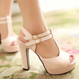 Wholesale Low Price High Heel Sandals - Wholesale-Low Price 2015open toe high-heeled shoes thick heel platform women's hasp formal sandals plus size available small