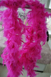 Wholesale Wholesale Pink Boas - Free shipping 20pcs 200cm pcs hot pink Feather Boas 40gram Chandelle Feather Boas Marabou Feather Boa for costumes party sewing supplies