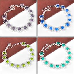 Wholesale Gemstone Jewelry Peridot - 10PCS   Lot High Quality Party Gift Round Amethyst Peridot Blue Topaz Gemstone Charm Chain Bracelet Bangle Russia American Jewelry Mix Color