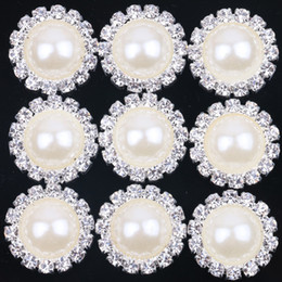 Wholesale Loose Flat Back Rhinestone - New White 18mm Flat Back Crystal Pearl Buttons Metal Rhinestone Crystal Loose Diamonds Silver Flowewr Buttons Jewelry DIYl