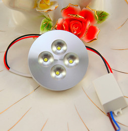 Wholesale 12v Counter - 4X1W AC85-265V LED puck light for cabinet showcase display counter bar lights commercial lighting 13mm ultra-thin Aluminum shell 10pcs lot