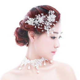 Wholesale Head Hair Necklaces - 2016 Free Shipping Bling Shining Pearl Crystal Wedding Head Accessory Bridal Headwear Bridal Hair Accessories Pearl Bridal Necklace