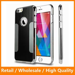 Wholesale Brushes Steel Iphone Case - Blade Metal Electroplating Brushed Aluminum Steel Chrome Shockproof Hard Skin Back Cover Case for iPhone6 6s 6Plus 6Splus