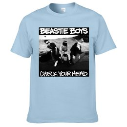 Wholesale Rock Band Tops - Beastie Boys American Hip Hop Rock Band Mens T Shirt Short Sleeve Cotton Tops T Shirt Summer Tees Black White Grey