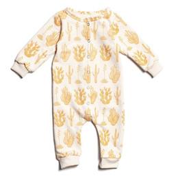 Canada Bébé Jaune Cactus Print Combinaisons 2017 Automne Bébé Boutique Vêtements Euro America INS Infant Toddlers Coton Manches Longues Body Offre