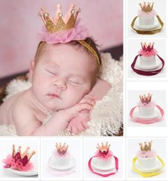 Wholesale Sparkle Elastic Headband - New Baby Princess Crown Headbands Kids Elastic Sparkle Bling Headwear Newborn Baby Photography Props Lace Hair Accessories Hairpin