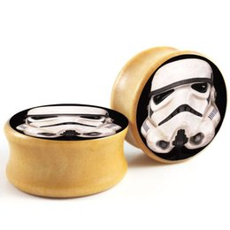 Wholesale Star Wars Tunnel - Star Wars Stormtrooper Logo Saddle Ear Plug Flesh Tunnel Gauge 6-16mm Double Flared Wooden Body Jewelry Piercing Ear Expander