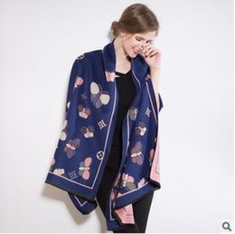 Wholesale Stylish Pashmina - new product Korean winter woman stylish flower Butterfly Scarves individuality Blanket Oversized Shawls Comfortable and warm scarfs gife