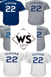 Wholesale Womens White Shorts - With 2017 WS Patch Best Quality Mens Womens Kids Los Angeles 22 Clayton Kershaw White Grey Blue Cool Base Flex Base Baseball Jerseys