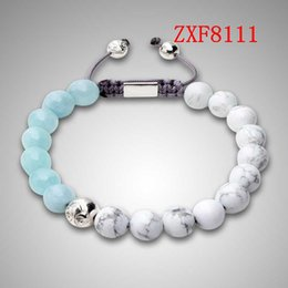 Wholesale White Shamballa Men - Bracelet factory nialaya fashion shamballa alloy ball bracelet natural stone White Turquoise beaded bracelets for men cool black ZXF8111