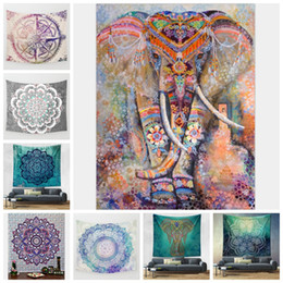 Wholesale Elephant Carpet - Indian Elephant Tapestry Mandala Wall Hanging Tapestry Colorful Beach Towel Carpet Yoga Mat Sofa Cover Home Decor 9 Designs YFA151