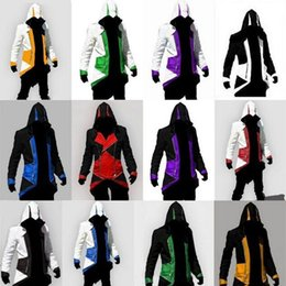 Wholesale Creed Silver - 12 Colors Hot SaleAssassins Creed 3 III Conner Kenway Hoodie Coat Jacket Cosplay Costume SET 2017
