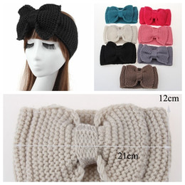 Wholesale Handmade Bow Hair Accessory - PrettyBaby Women Big Bow Knot Crochet Handmade Knit Headband Ear Warmer Winter Warm Hairband Head wrap Hair Band Accessories free shipping