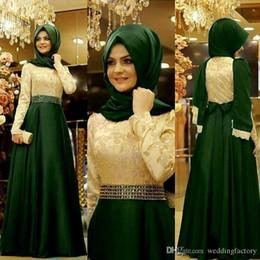 Wholesale Muslim Chiffon Dresses For Women - Muslim Arabic Dark Green Evening Dresses Party Elegant for Women Celebrity Long Sleeve Chiffon Dubai Caftans Formal Prom Gowns