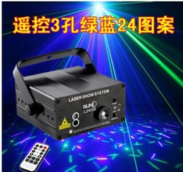 Wholesale Voice Activated Remote Control - New blue-green remote control SONY 3-hole pattern 24 bar ktv laser light voice-activated laser stage lights flash