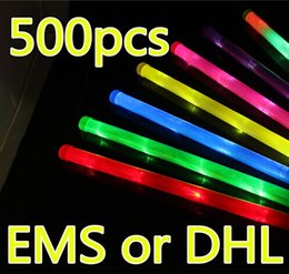 Wholesale Environmental Led - In Stock! 48 *2cm Rainbow Stick Glow Stick Light Environmental Bar Birthday Celebration Concert Stick Led Rave Toy