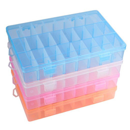 Wholesale Square Plastic Case - New organizer New Practical Adjustable Plastic 24 Compartment Storage Box Case Bead Rings Jewelry Display Box Organizer