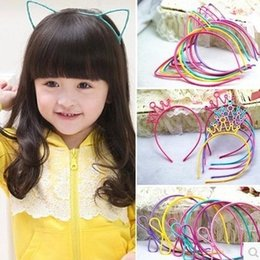 Wholesale Hair Accessories Combs Bands - Kids Headbands Cat Ears Bunny Ears Crown bowknot 4 designs plastic with short combs Headband variety color kid hair accessories hair band