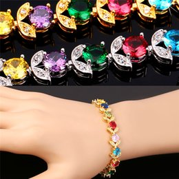 Wholesale European Brass Bracelet - U7 Luxury Colorful Zirconia Bracelet for Women Fashion Jewelry 18K Real Gold Platinum Plated European Flower Chain Bracelets Perfect Gift