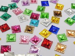 Wholesale Square Rhinestone Embellishments - 200 Mixed Color Acrylic Flatback Square Rhinestone Gems 10x10mm Embellishments