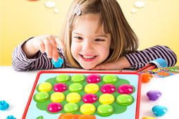 Wholesale puzzle kit - Creative Mosaic Button Mushroom Nail Plug Kit 3D Composite Picture Puzzles Board Toy Children Educational Toys Art Kids Toy