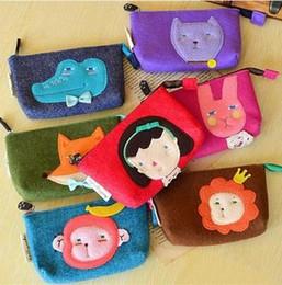 Wholesale Sewn Cartoon Monkey - Wholesale-Fashion Cute Sewing Cartoon Role Monkey Rabbit Lion Fox Bear Crocodile Stationery Felt Pencil Case Purse Dress Cosmetic Pen Bag