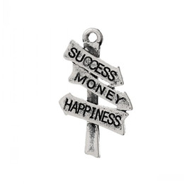 """Wholesale Vintage Road - Jewelry Findings Charm Pendants Vintage Road Sign Signpost Antique Silver Message """"Success Money Happiness""""Carved 26mmx15mm,50Pcs"""