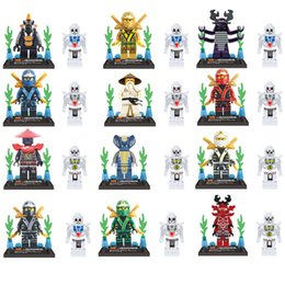 Wholesale Blocks Figures - 12 pcs Lot NINJAGO Minifigures Cole Kai Jay Lloyd Nya Skylor Zane Pythor Chen Building Blocks Figures Toys XL78011