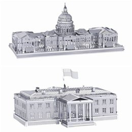 Wholesale Diy House Model - DIY Metal Works Model Kits 3d Laser Cut Jigsaw Puzzle Toy Landmark Building US Capitol and US White House