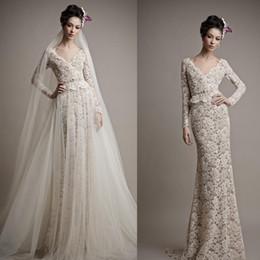 Wholesale Ersa Atelier Wedding Dresses - 2016 Lace Wedding Dresses Two Piece Wedding Gowns with Long Sleeve V Neck Sweep Train Backless Evening Wear Ersa Atelier 6518