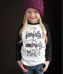 Wholesale Wholesale Clothing Tees - New Spring Autumn Girls Letter T-shirt Kids White Black Cotton Tops Tee Baby Long Sleeve T-shirts Children Top Tshirt Child Clothing 10799