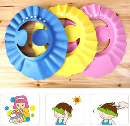 Wholesale Wholesales Shampoos - Soft Baby Children Shampoo Bath Shower Cap Kids Bathing Cap Bath Visor Adjustable Hat Wash Hair Shield with Ear Shield Hats KKA3276