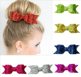 Wholesale Hair Accessorie Baby - Baby Girls Bow Clips Glitter Barrettes Children Bow with Hair alligator clips Shining Bowknot Hairpins Kids Infants Hair Accessorie A08