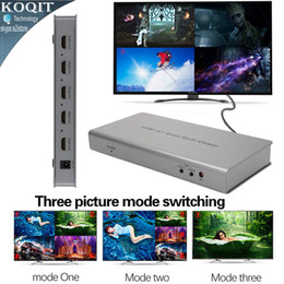 Wholesale Function Viewer - Freeshipping 4 Port 4X1 HDMI Multi-viewer Quad Screen Real Time Multiviewer Converter Seamless Switcher Function 1080P 3D + Remote Control