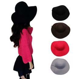 Wholesale Blower Hat - S5Q Women's Winter Classic Vintage Woolen Blower Jazz Hat Trilby Style Cap Hats AAADYM