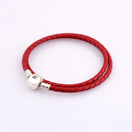 Wholesale Pandora Bracelet Leather - 925 Silver different Red color Leather Charm fit pandora Bracelet DIY Jewelry Compatible with european Charm Beads For Women jewelry