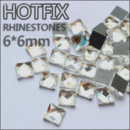 Wholesale Hotfix Strass - Wholesale-New strass glass beads130pcs 6*6mm square crystal DMC hotfix glue on flatback rhinestones use for garment YrhZfCr