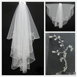 Wholesale Short White Tulle - New Fashion White Ivory 2016 Short Two Layers With Comb Bridal Veils Wedding Accessories Free Shipping Beaded Edge Crystal Fashion