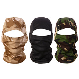 Wholesale Camo Face Masks - Wholesale- 3D Camouflage Cycling Full Face Mask Camo Headgear Balaclava Neck Protector for Hunting Fishing Camping UV Protection Mask