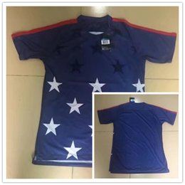 Wholesale Usa Soccer Shorts - 1718 FIFA World Cup Soccer Jersey USA Clint Dempsey and Jozy Altidore Men's Short Sleeve Blue Star Training T-Shirt