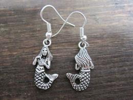 Wholesale antique chandelier earrings - Earring, Antique silver*MERMAID GIRL* Earrings (z564)