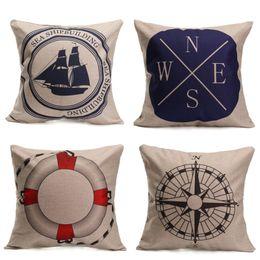 Wholesale Compass Pillow - Wholesale-43*43cm Fashion Wheel Series Compass- Sofa Cushion Patterns Square Linen Cotton Linen Pillow Case For Living Room