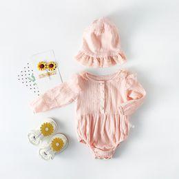 Wholesale Infant Ruffle Hat - INS Baby Romper Cotton Ruffle Long Sleeve Infant Jumpsuit + Hat Spring Autumn Newborn Bodysuit Fashion Lace Toddler Onesie C2623