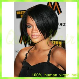 Wholesale Glueless 22 Inch Lace Wig - Short cut 8 inches human hair bob wigs lace front wig with baby hair glueless full lace human wigs with bangs for black women