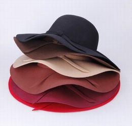 Wholesale Ladies Felt Hats Wholesale - Women's Wool Bowknot Band Floppy Hat Wide Brim Crushable Series Caps Fashion Lady Summer Beach Felt Trilby Caps 3pcs lot DII*3