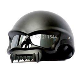 Wholesale Motorcycle Matt Black Helmet - 2017 New Fashion personality skull shape motorcycle helmet Masei 429 Matt Black half helmet Motorcycle for harley Riding team