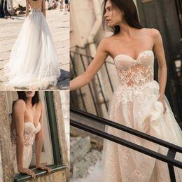 Wholesale Strapless Sweetheart Neckline Wedding Dresses - Romantic Sexy Wedding Dresses Plus Size 2018 Liz Martinez Strapless Sweetheart Neckline Full Lace Open Back Sweep Train