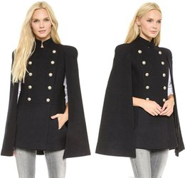 Wholesale Cheap Outerwear Women - 2016 Fall New Best Cheap Wool Outerwear Coats With Batwing Sleeve Black Women's Double Breasted Capes Wool Blend Coat Cappa Jacket Cloak